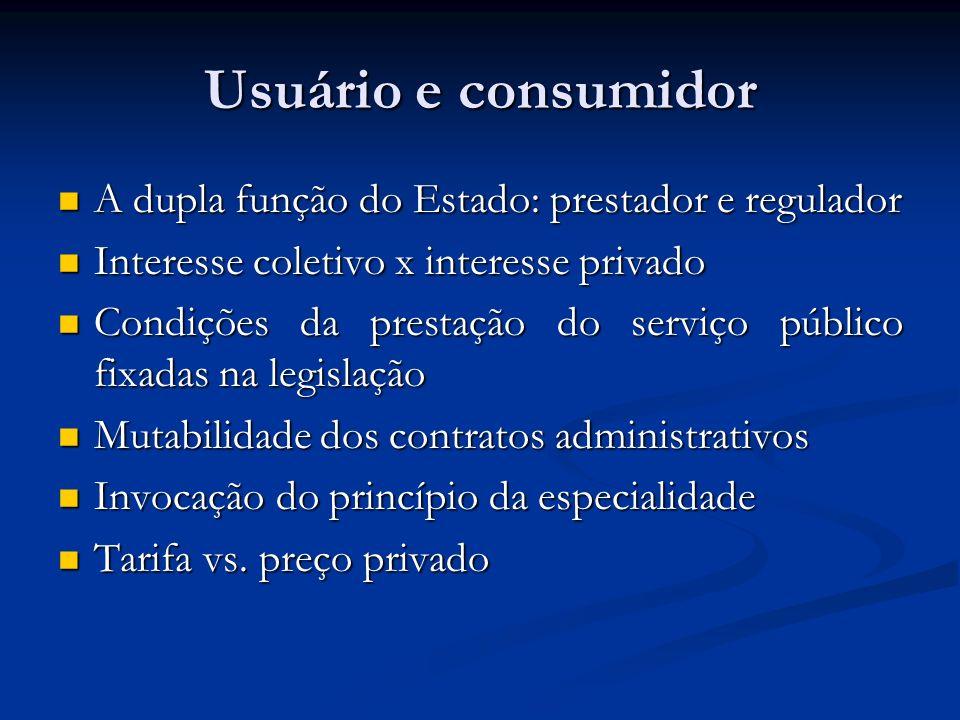 Usuário e consumidor A dupla função do Estado: prestador e regulador A dupla função do Estado: prestador e regulador Interesse coletivo x interesse pr
