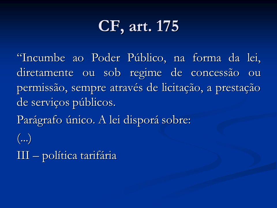CF, art. 175 Incumbe ao Poder Público, na forma da lei, diretamente ou sob regime de concessão ou permissão, sempre através de licitação, a prestação