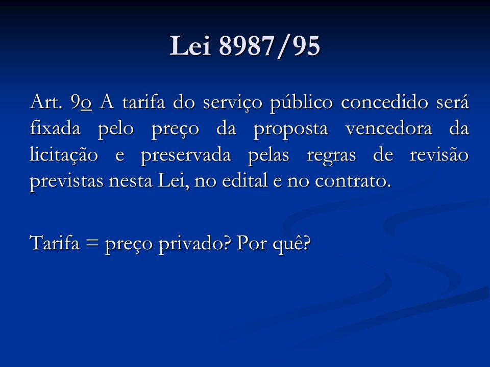 Lei 8987/95 Art. 9o A tarifa do serviço público concedido será fixada pelo preço da proposta vencedora da licitação e preservada pelas regras de revis
