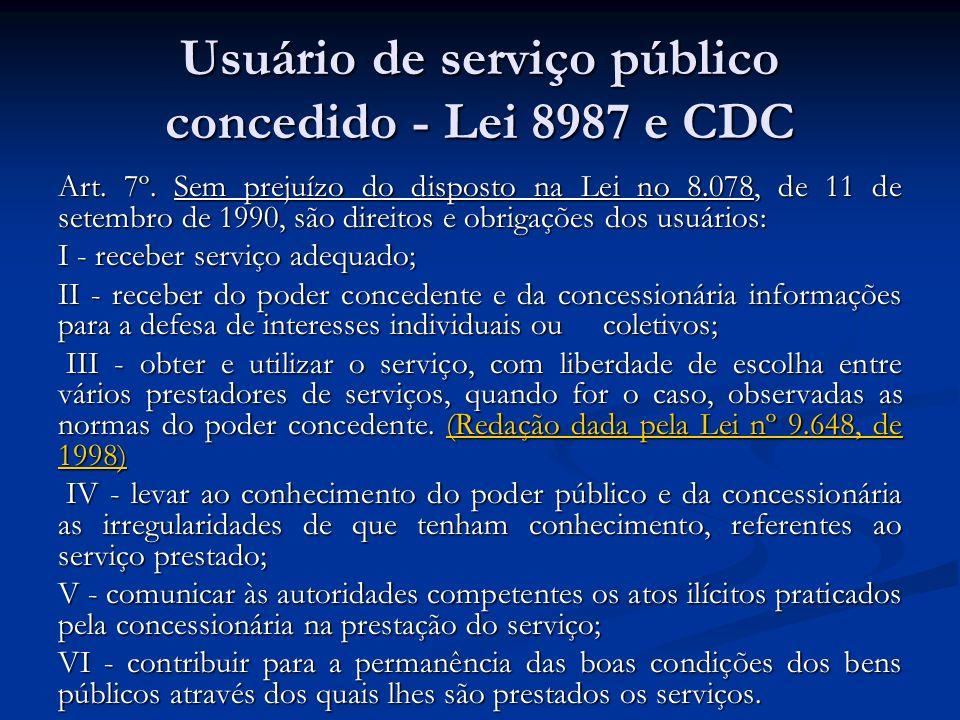 Usuário de serviço público concedido - Lei 8987 e CDC Art. 7º. Sem prejuízo do disposto na Lei no 8.078, de 11 de setembro de 1990, são direitos e obr