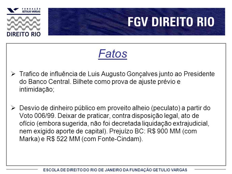 ESCOLA DE DIREITO DO RIO DE JANEIRO DA FUNDAÇÃO GETULIO VARGAS Fatos Trafico de influência de Luis Augusto Gonçalves junto ao Presidente do Banco Central.
