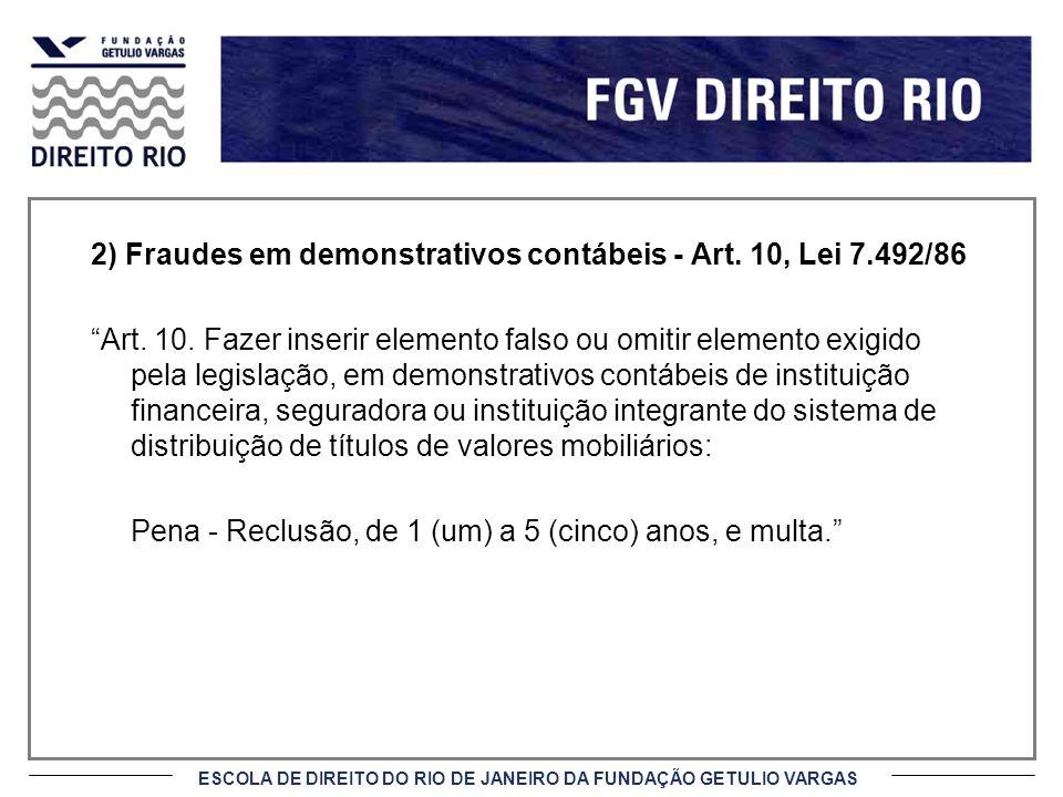 ESCOLA DE DIREITO DO RIO DE JANEIRO DA FUNDAÇÃO GETULIO VARGAS 2) Fraudes em demonstrativos contábeis - Art.