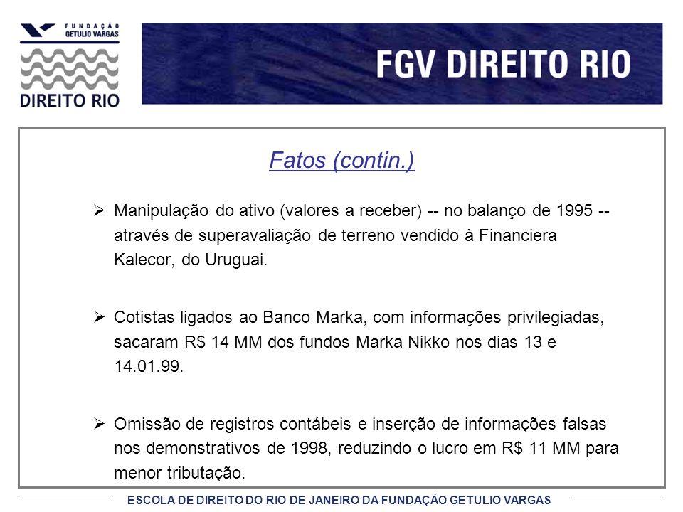 ESCOLA DE DIREITO DO RIO DE JANEIRO DA FUNDAÇÃO GETULIO VARGAS Fatos (contin.) Manipulação do ativo (valores a receber) -- no balanço de 1995 -- através de superavaliação de terreno vendido à Financiera Kalecor, do Uruguai.