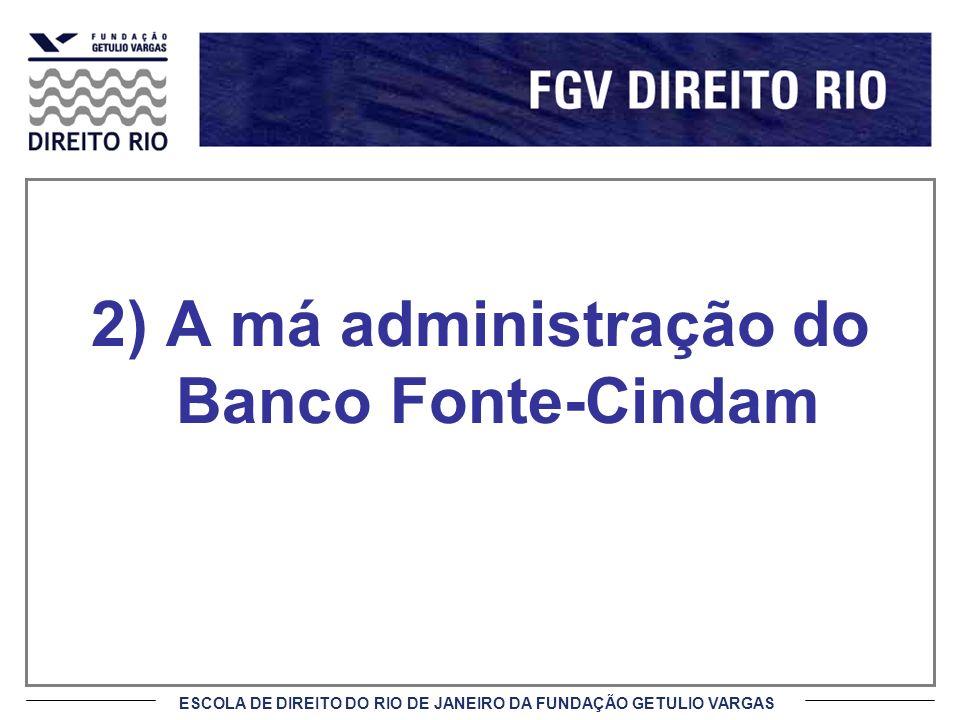 ESCOLA DE DIREITO DO RIO DE JANEIRO DA FUNDAÇÃO GETULIO VARGAS Fatos Inexistência de risco sistêmico porque o Banco Fonte-Cindam possuía apenas 1,6 mil contratos de venda de opções, pertencendo aos fundos o restante (6,3 mil); A venda dos 7,9 mil contratos não foi precedida de qualquer averiguação de servidores do BC.