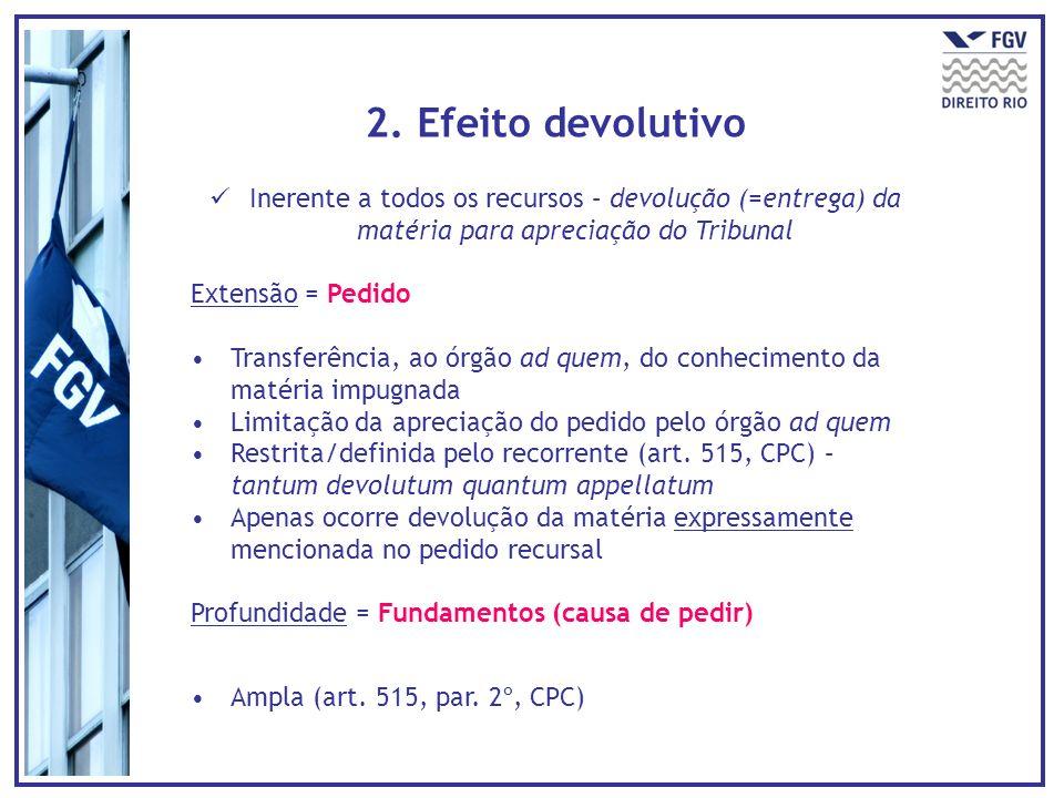 2. Efeito devolutivo Inerente a todos os recursos – devolução (=entrega) da matéria para apreciação do Tribunal Extensão = Pedido Transferência, ao ór
