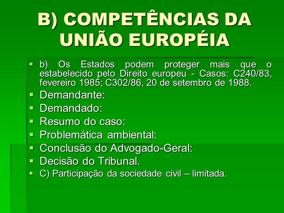 B) COMPETÊNCIAS DA UNIÃO EUROPÉIA b) Os Estados podem proteger mais que o estabelecido pelo Direito europeu - Casos: C240/83, fevereiro 1985; C302/86, 20 de setembro de 1988.