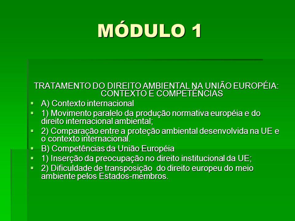 MÓDULO 1 TRATAMENTO DO DIREITO AMBIENTAL NA UNIÃO EUROPÉIA: CONTEXTO E COMPETÊNCIAS A) Contexto internacional A) Contexto internacional 1) Movimento p