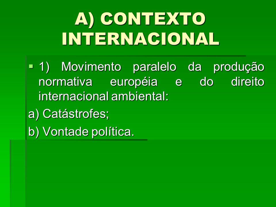 A) CONTEXTO INTERNACIONAL 1) Movimento paralelo da produção normativa européia e do direito internacional ambiental: 1) Movimento paralelo da produção normativa européia e do direito internacional ambiental: a) Catástrofes; b) Vontade política.