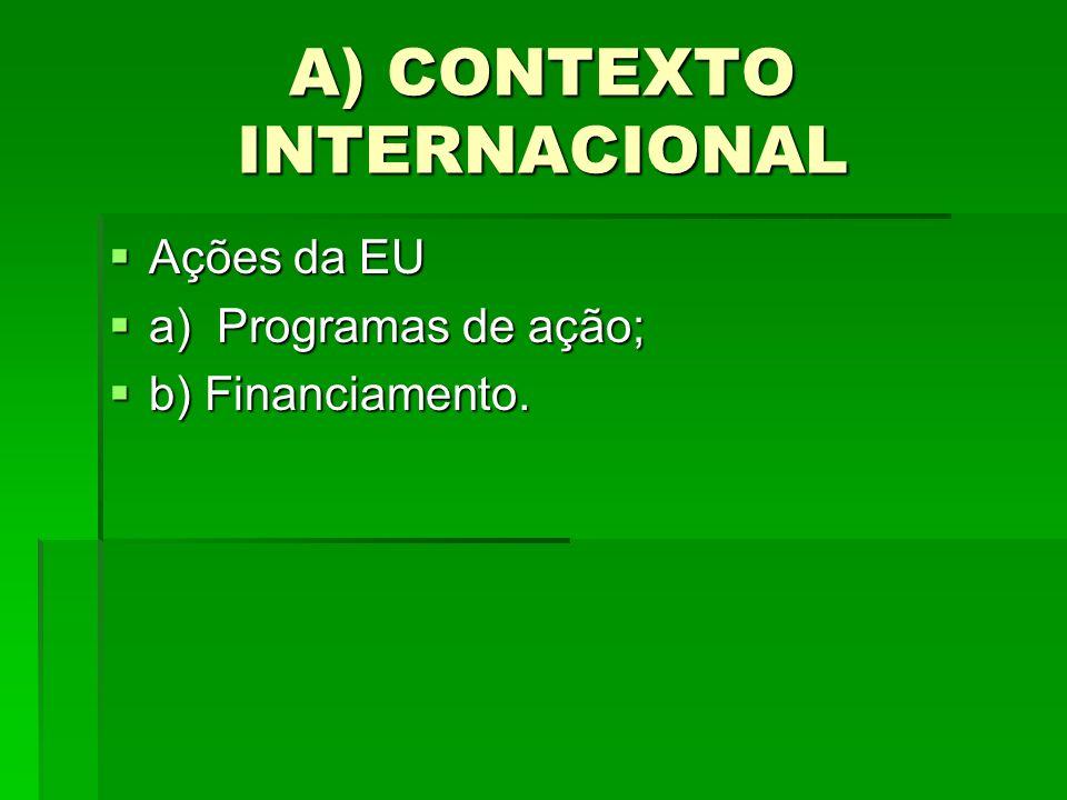 A) CONTEXTO INTERNACIONAL Ações da EU Ações da EU a) Programas de ação; a) Programas de ação; b) Financiamento. b) Financiamento.