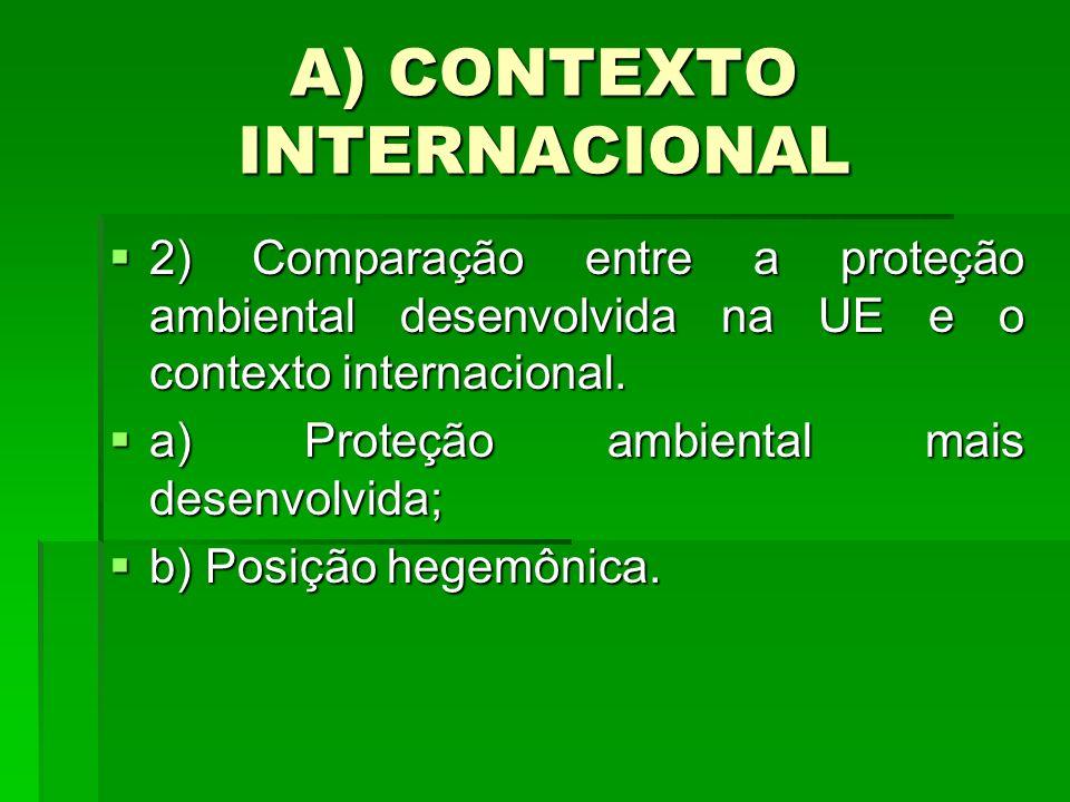 A) CONTEXTO INTERNACIONAL 2) Comparação entre a proteção ambiental desenvolvida na UE e o contexto internacional. 2) Comparação entre a proteção ambie
