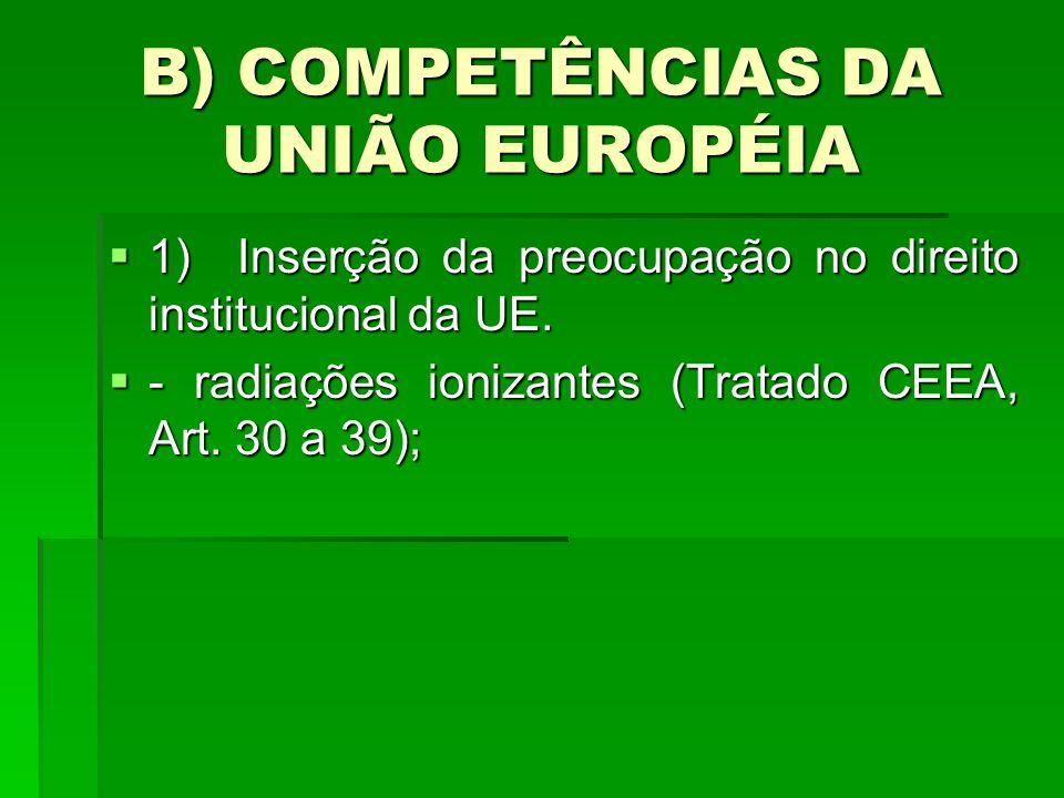 B) COMPETÊNCIAS DA UNIÃO EUROPÉIA 1) Inserção da preocupação no direito institucional da UE. 1) Inserção da preocupação no direito institucional da UE