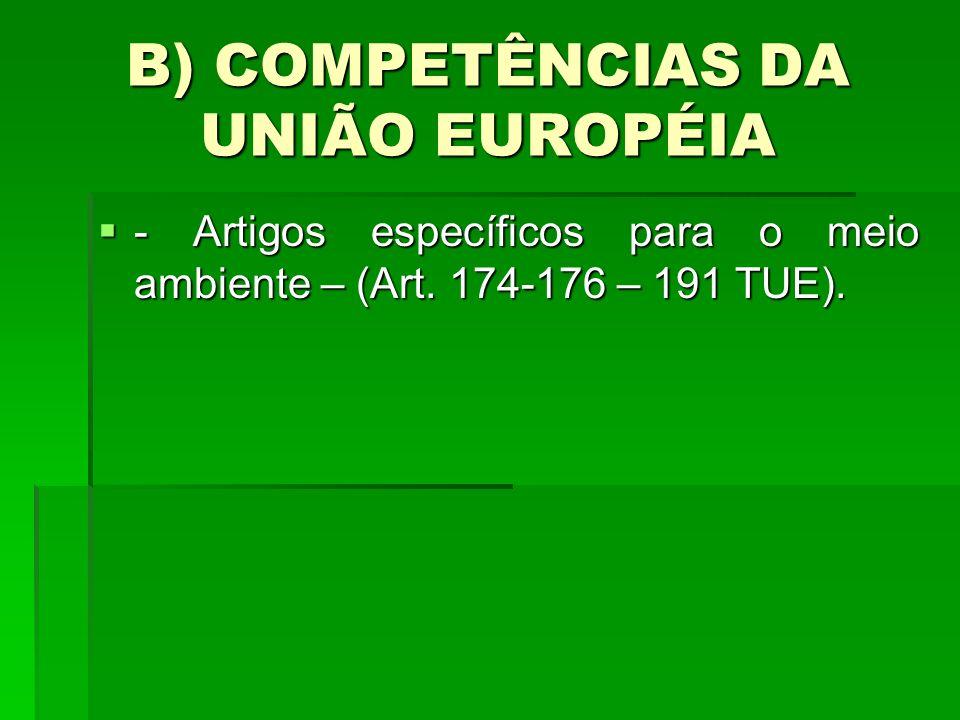 B) COMPETÊNCIAS DA UNIÃO EUROPÉIA - Artigos específicos para o meio ambiente – (Art. 174-176 – 191 TUE). - Artigos específicos para o meio ambiente –