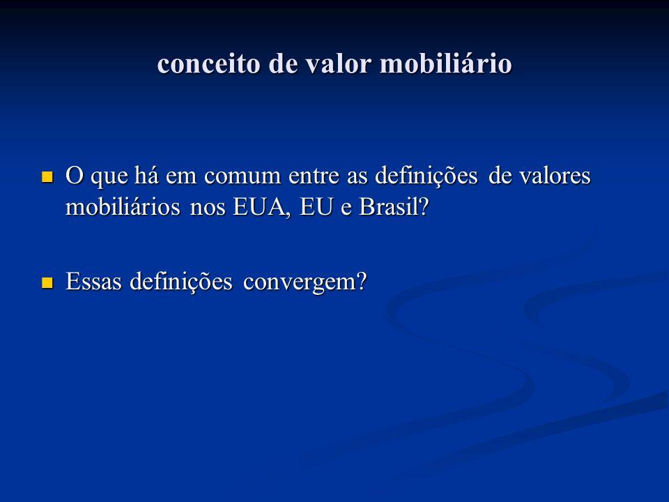 conceito de valor mobiliário O que há em comum entre as definições de valores mobiliários nos EUA, EU e Brasil? O que há em comum entre as definições