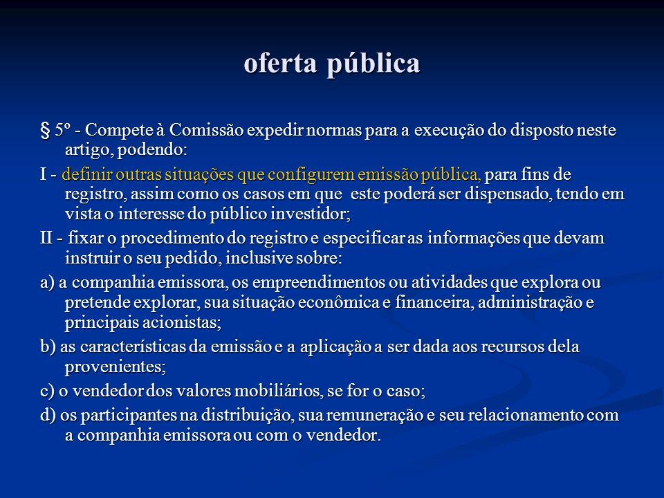 oferta pública § 5º - Compete à Comissão expedir normas para a execução do disposto neste artigo, podendo: I - definir outras situações que configurem