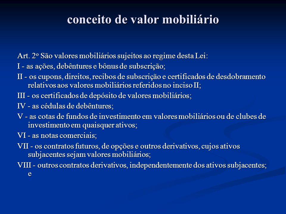 conceito de valor mobiliário Art. 2 o São valores mobiliários sujeitos ao regime desta Lei: I - as ações, debêntures e bônus de subscrição; II - os cu