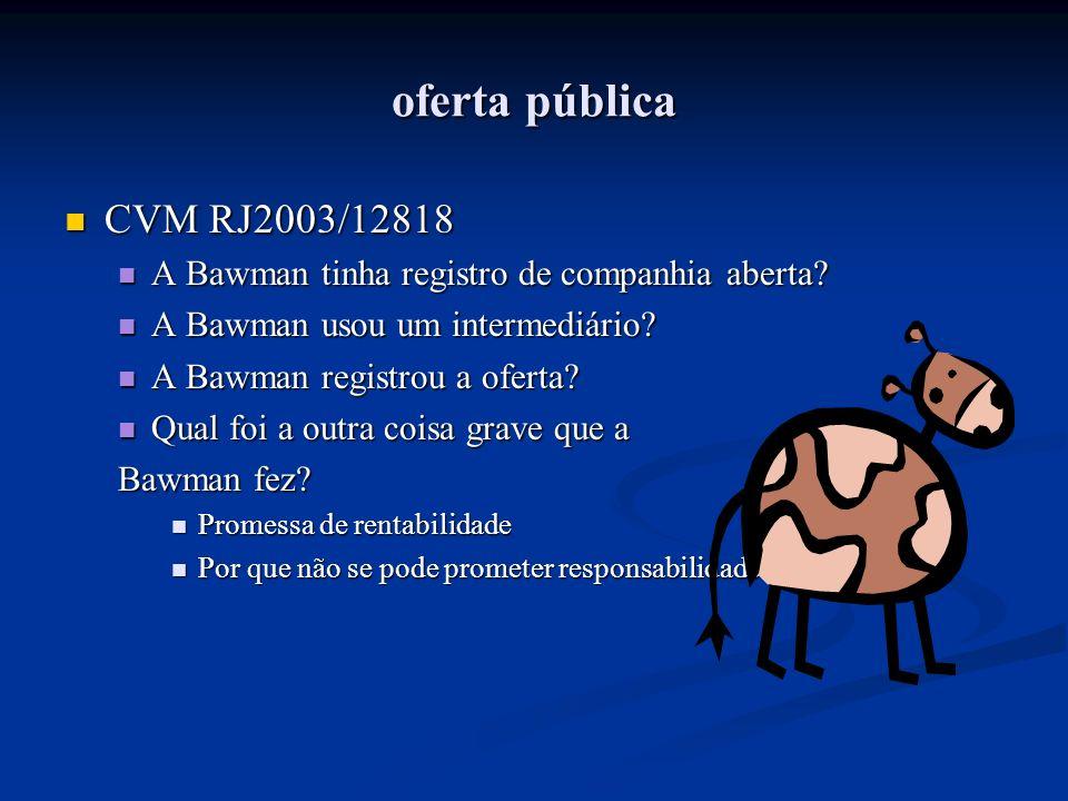 oferta pública CVM RJ2003/12818 CVM RJ2003/12818 A Bawman tinha registro de companhia aberta? A Bawman tinha registro de companhia aberta? A Bawman us