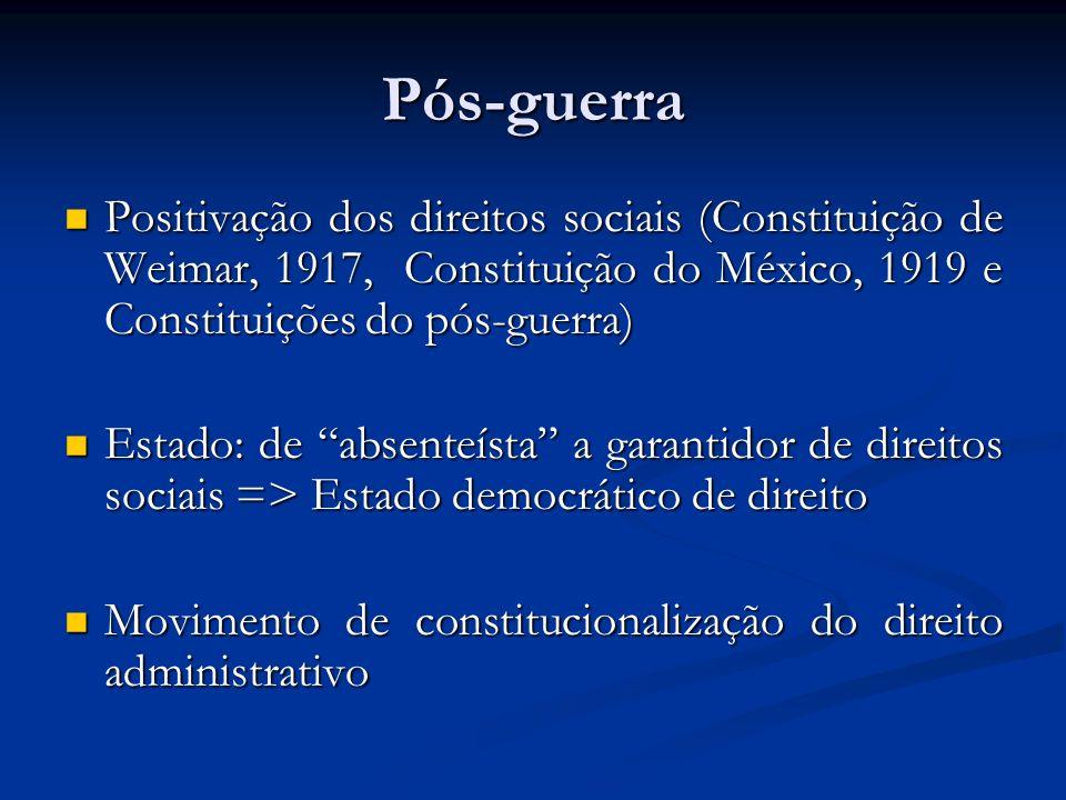 Pós-guerra Positivação dos direitos sociais (Constituição de Weimar, 1917, Constituição do México, 1919 e Constituições do pós-guerra) Positivação dos direitos sociais (Constituição de Weimar, 1917, Constituição do México, 1919 e Constituições do pós-guerra) Estado: de absenteísta a garantidor de direitos sociais => Estado democrático de direito Estado: de absenteísta a garantidor de direitos sociais => Estado democrático de direito Movimento de constitucionalização do direito administrativo Movimento de constitucionalização do direito administrativo