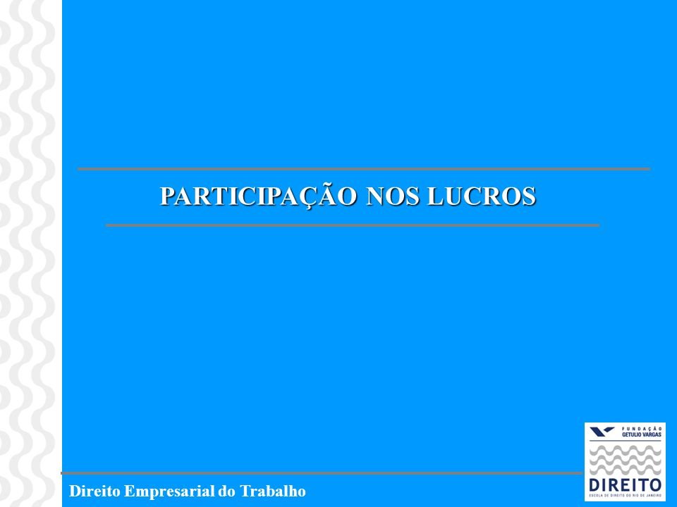 Direito Empresarial do Trabalho PARTICIPAÇÃO NOS LUCROS
