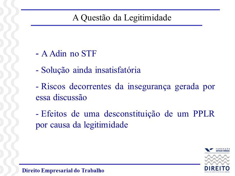 Direito Empresarial do Trabalho A Questão da Legitimidade - A Adin no STF - Solução ainda insatisfatória - Riscos decorrentes da insegurança gerada por essa discussão - Efeitos de uma desconstituição de um PPLR por causa da legitimidade