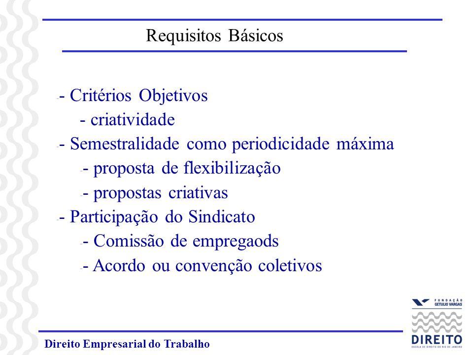 Direito Empresarial do Trabalho Requisitos Básicos - - Critérios Objetivos - criatividade - - Semestralidade como periodicidade máxima - - proposta de flexibilização - - propostas criativas - - Participação do Sindicato - - Comissão de empregaods - - Acordo ou convenção coletivos