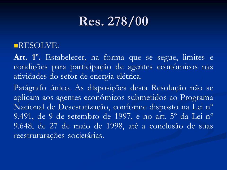 Res. 278/00 RESOLVE: Art. 1º. Estabelecer, na forma que se segue, limites e condições para participação de agentes econômicos nas atividades do setor