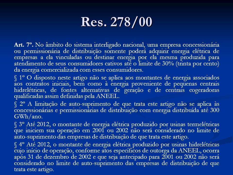 Res. 278/00 Art. 7º. No âmbito do sistema interligado nacional, uma empresa concessionária ou permissionária de distribuição somente poderá adquirir e