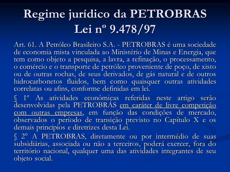 Regime jurídico da PETROBRAS Lei nº 9.478/97 Art. 61. A Petróleo Brasileiro S.A. - PETROBRAS é uma sociedade de economia mista vinculada ao Ministério