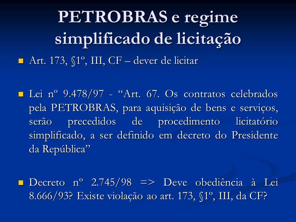 PETROBRAS e regime simplificado de licitação Art. 173, §1º, III, CF – dever de licitar Art. 173, §1º, III, CF – dever de licitar Lei nº 9.478/97 - Art