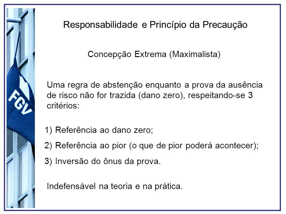 Responsabilidade e Princípio da Precaução Concepção Extrema (Maximalista) Uma regra de abstenção enquanto a prova da ausência de risco não for trazida (dano zero), respeitando-se 3 critérios: 1)Referência ao dano zero; 2)Referência ao pior (o que de pior poderá acontecer); 3)Inversão do ônus da prova.