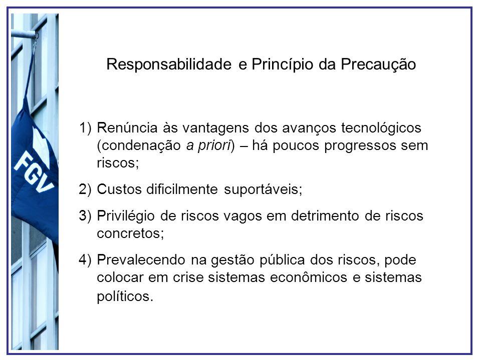 Responsabilidade e Princípio da Precaução 1)Renúncia às vantagens dos avanços tecnológicos (condenação a priori) – há poucos progressos sem riscos; 2)