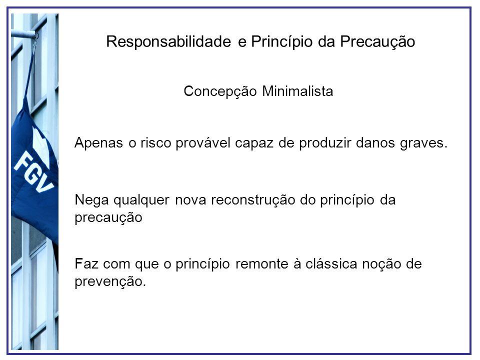 Responsabilidade e Princípio da Precaução Concepção Minimalista Apenas o risco provável capaz de produzir danos graves. Nega qualquer nova reconstruçã
