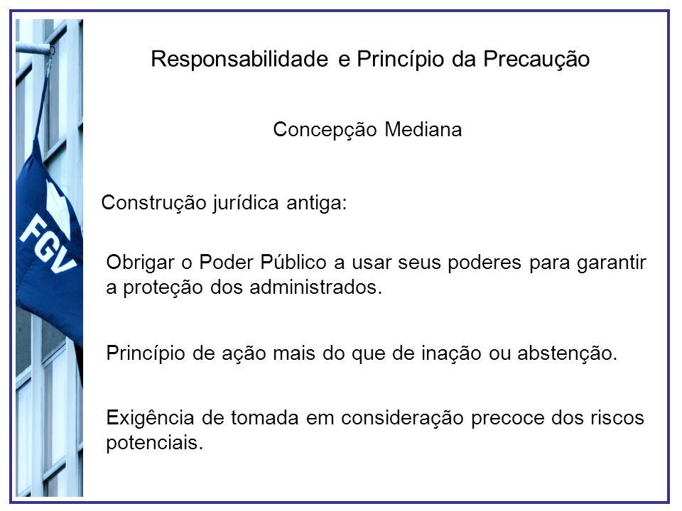 Responsabilidade e Princípio da Precaução Concepção Mediana Construção jurídica antiga: Obrigar o Poder Público a usar seus poderes para garantir a proteção dos administrados.