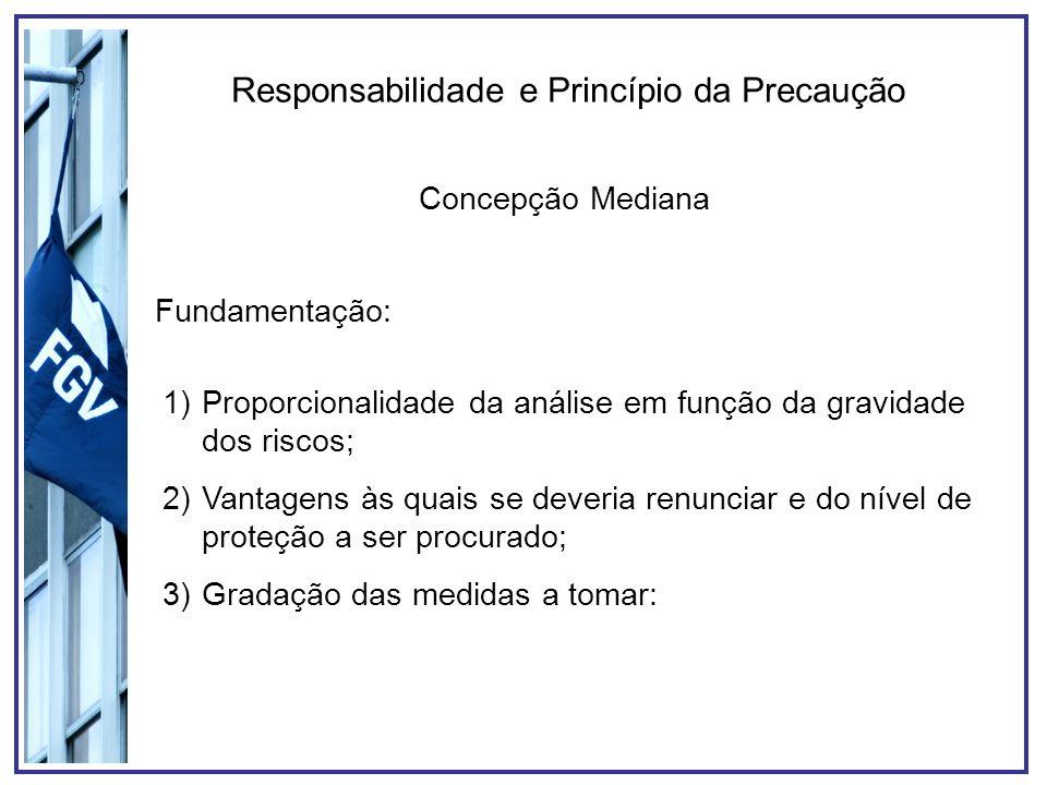 Responsabilidade e Princípio da Precaução Concepção Mediana Fundamentação: 1)Proporcionalidade da análise em função da gravidade dos riscos; 2)Vantage