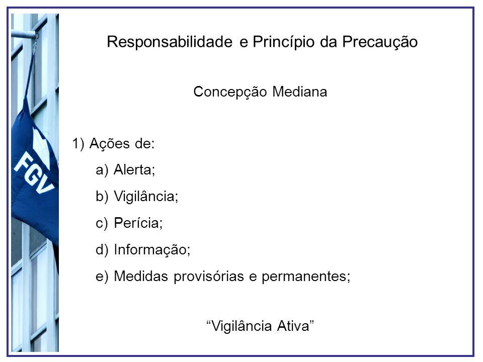 Responsabilidade e Princípio da Precaução Concepção Mediana 1)Ações de: a)Alerta; b)Vigilância; c)Perícia; d)Informação; e)Medidas provisórias e perma