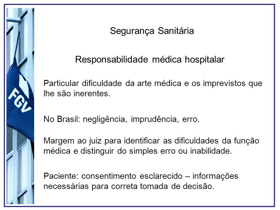 Segurança Sanitária Responsabilidade médica hospitalar Particular dificuldade da arte médica e os imprevistos que lhe são inerentes. No Brasil: neglig