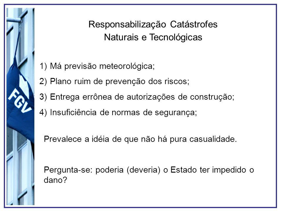Responsabilização Catástrofes Naturais e Tecnológicas 1)Má previsão meteorológica; 2)Plano ruim de prevenção dos riscos; 3)Entrega errônea de autorizações de construção; 4)Insuficiência de normas de segurança; Prevalece a idéia de que não há pura casualidade.