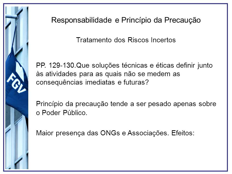 Responsabilidade e Princípio da Precaução 1)Ampliação da responsabilidade do Poder Público; 2)Validação das análises e opiniões; 3)Divisão (limitada) da responsabilidade.