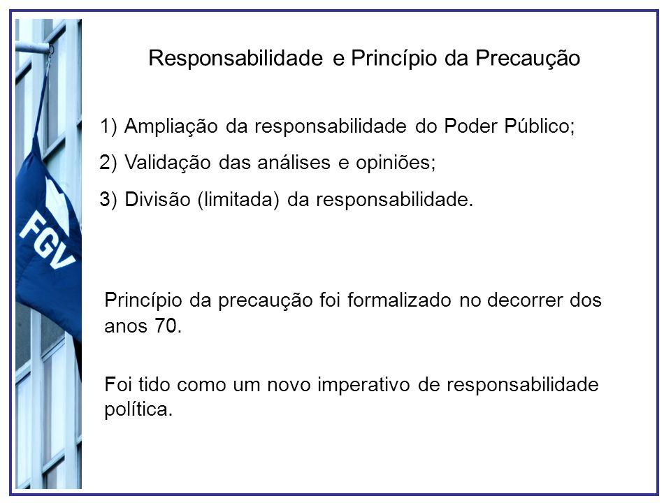 Responsabilidade e Princípio da Precaução 1)Ampliação da responsabilidade do Poder Público; 2)Validação das análises e opiniões; 3)Divisão (limitada)