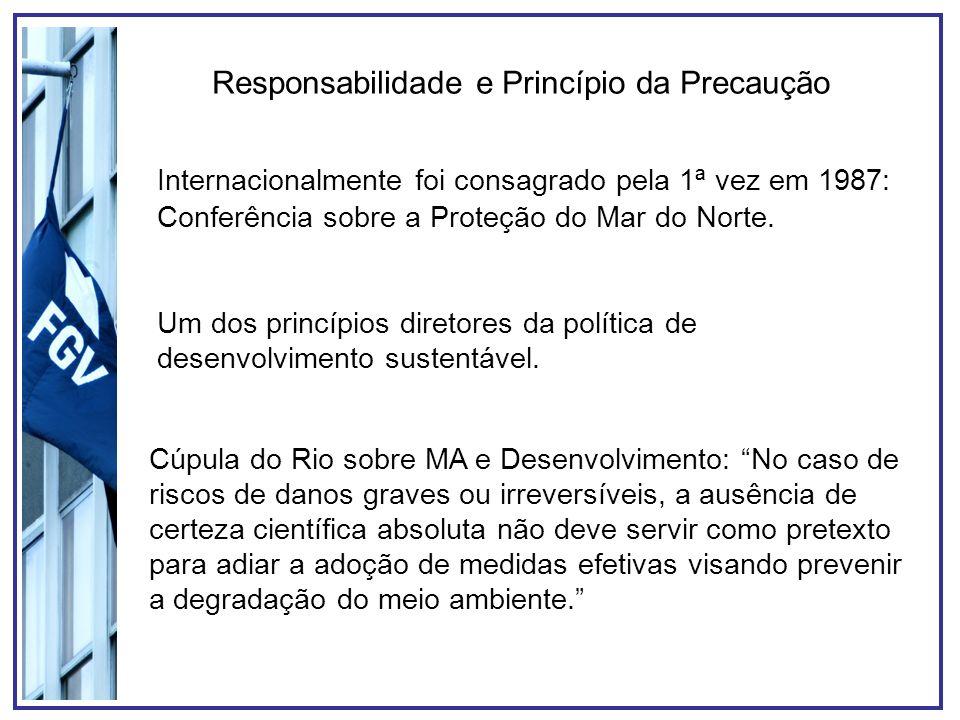 Responsabilidade e Princípio da Precaução Internacionalmente foi consagrado pela 1ª vez em 1987: Conferência sobre a Proteção do Mar do Norte. Um dos