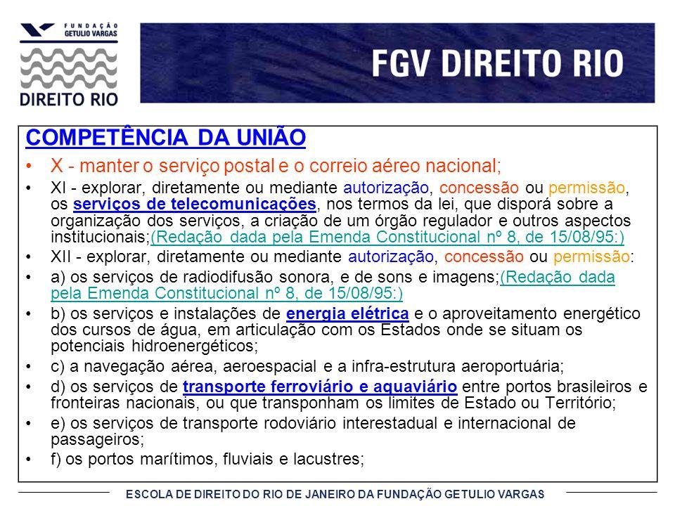 ESCOLA DE DIREITO DO RIO DE JANEIRO DA FUNDAÇÃO GETULIO VARGAS COMPETÊNCIA DA UNIÃO X - manter o serviço postal e o correio aéreo nacional; XI - explo