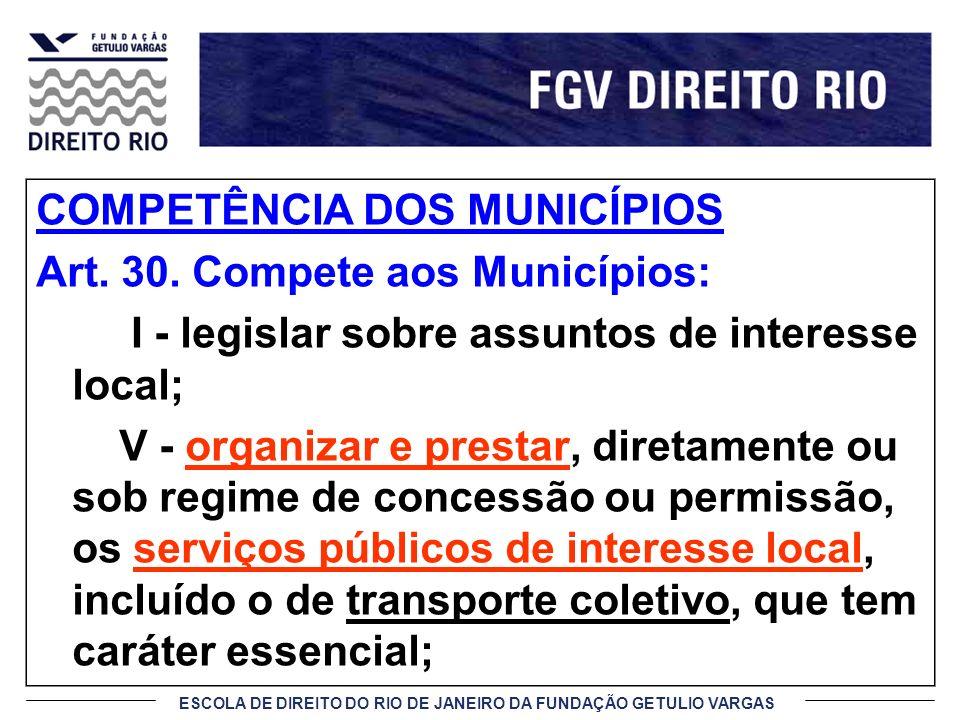 ESCOLA DE DIREITO DO RIO DE JANEIRO DA FUNDAÇÃO GETULIO VARGAS COMPETÊNCIA DOS MUNICÍPIOS Art. 30. Compete aos Municípios: I - legislar sobre assuntos