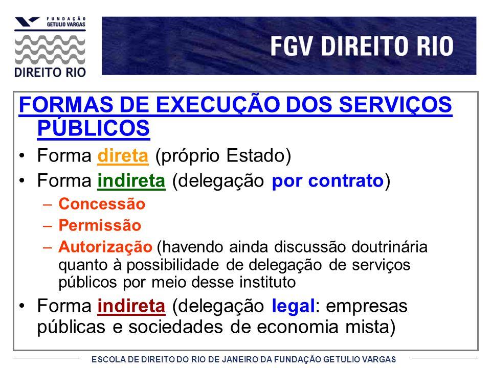 ESCOLA DE DIREITO DO RIO DE JANEIRO DA FUNDAÇÃO GETULIO VARGAS FORMAS DE EXECUÇÃO DOS SERVIÇOS PÚBLICOS Forma direta (próprio Estado) Forma indireta (