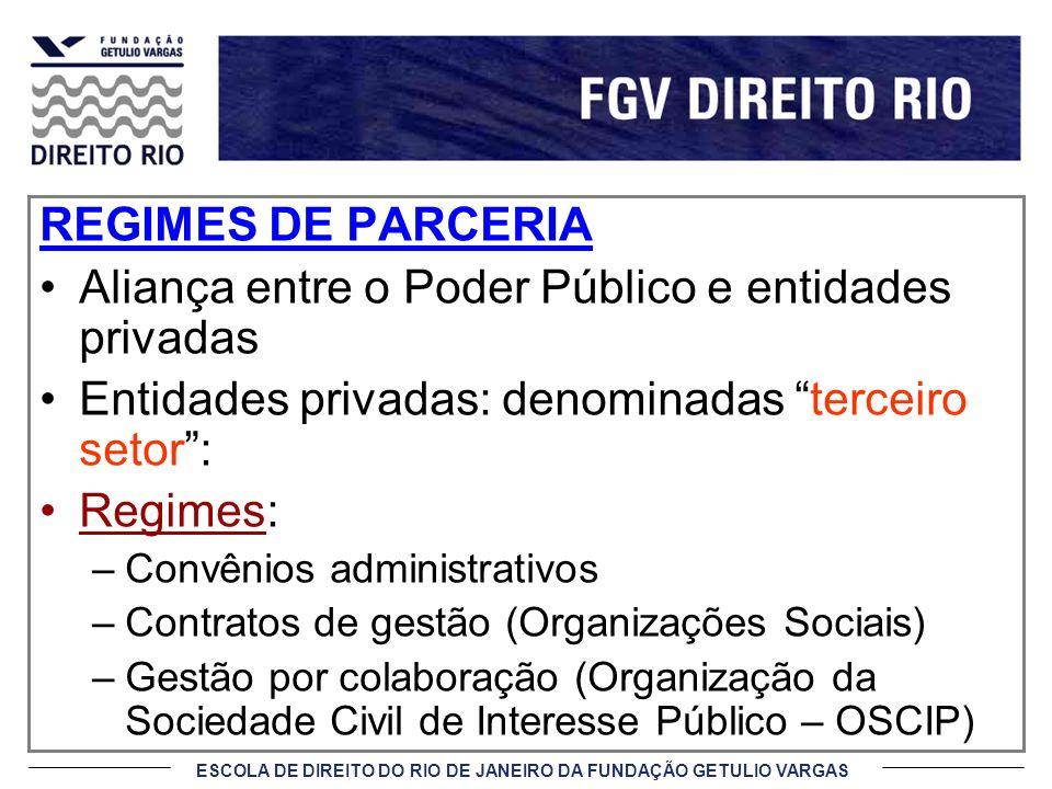 ESCOLA DE DIREITO DO RIO DE JANEIRO DA FUNDAÇÃO GETULIO VARGAS REGIMES DE PARCERIA Aliança entre o Poder Público e entidades privadas Entidades privad