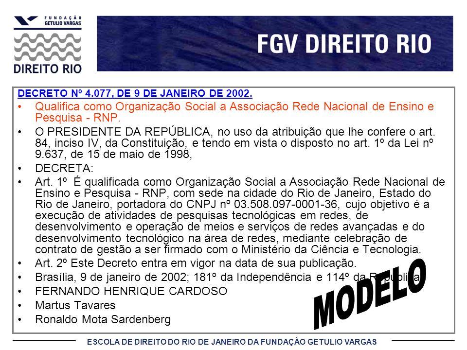 ESCOLA DE DIREITO DO RIO DE JANEIRO DA FUNDAÇÃO GETULIO VARGAS DECRETO Nº 4.077, DE 9 DE JANEIRO DE 2002. Qualifica como Organização Social a Associaç