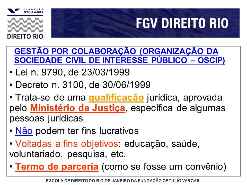 GESTÃO POR COLABORAÇÃO (ORGANIZAÇÃO DA SOCIEDADE CIVIL DE INTERESSE PÚBLICO – OSCIP) Lei n. 9790, de 23/03/1999 Decreto n. 3100, de 30/06/1999 Trata-s