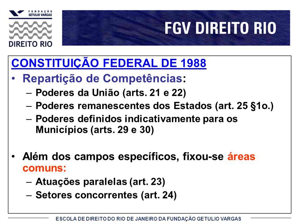 ESCOLA DE DIREITO DO RIO DE JANEIRO DA FUNDAÇÃO GETULIO VARGAS CONSTITUIÇÃO FEDERAL DE 1988 Repartição de Competências: –Poderes da União (arts. 21 e