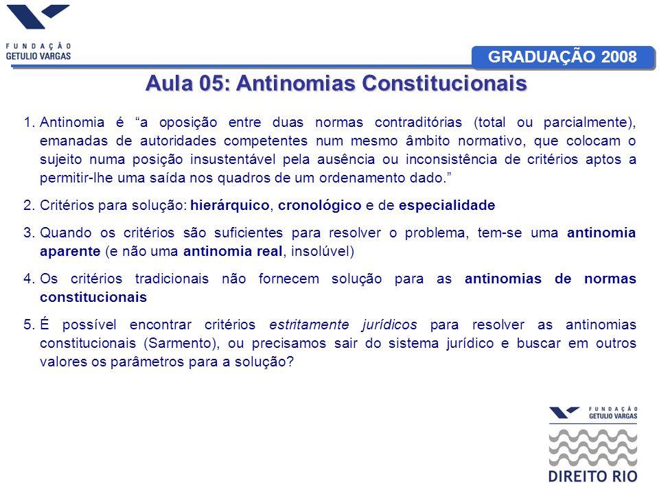 GRADUAÇÃO 2008 Aula 05: Antinomias Constitucionais 1.Antinomia é a oposição entre duas normas contraditórias (total ou parcialmente), emanadas de auto