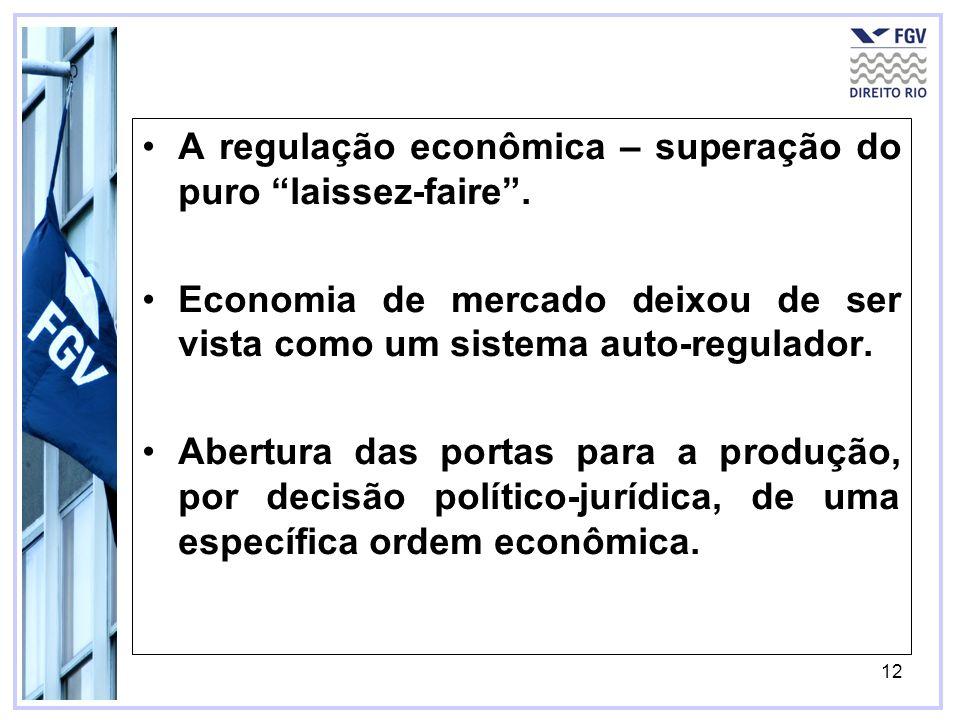 12 A regulação econômica – superação do puro laissez-faire. Economia de mercado deixou de ser vista como um sistema auto-regulador. Abertura das porta