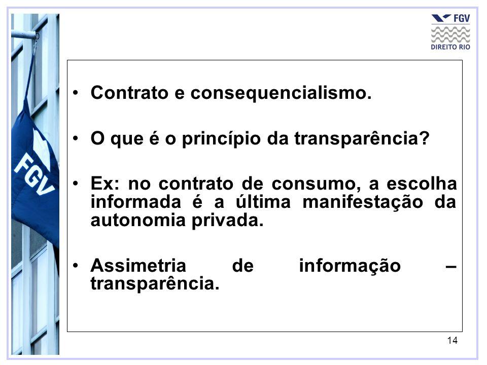 14 Contrato e consequencialismo. O que é o princípio da transparência? Ex: no contrato de consumo, a escolha informada é a última manifestação da auto