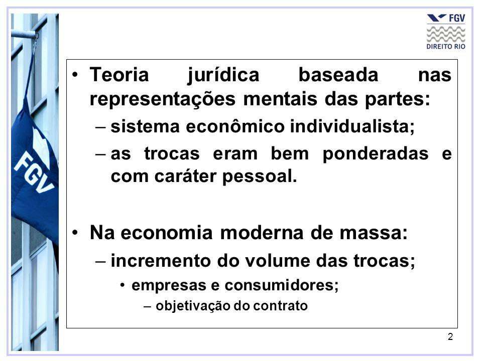 2 Teoria jurídica baseada nas representações mentais das partes: –sistema econômico individualista; –as trocas eram bem ponderadas e com caráter pesso